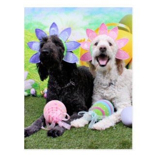 Cartão Postal Páscoa - GoldenDoodles - Sadie e Izzie