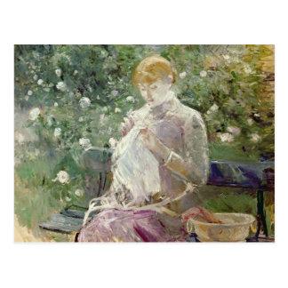 Cartão Postal Pasie que sewing no jardim de Bougival, 1881