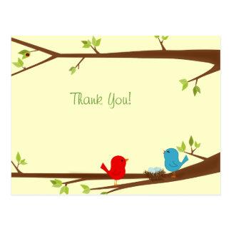 Cartão Postal Passarinhos com o obrigado do chá de fraldas do
