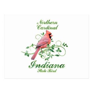 Cartão Postal Pássaro de estado cardinal de Indiana