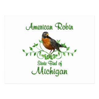 Cartão Postal Pássaro de Michigan do pisco de peito vermelho
