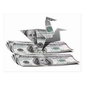 Cartão Postal Pássaro de Origami da nota de dólar 100
