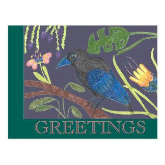 Cartão Postal Pássaro de paraíso preto & azul