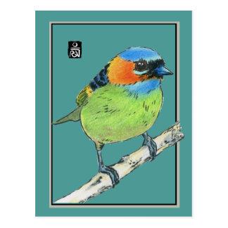 Cartão Postal Pássaro de pescoço encarnado do Tanager