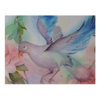 Cartão Postal Pássaro do amor no azul e no rosa