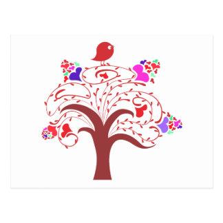 Cartão Postal pássaro do docinho e árvore de amor