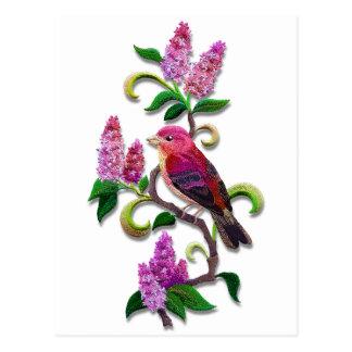 Cartão Postal pássaro do lilac