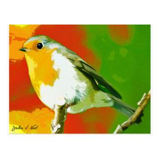 Cartão Postal Pássaro do pisco de peito vermelho