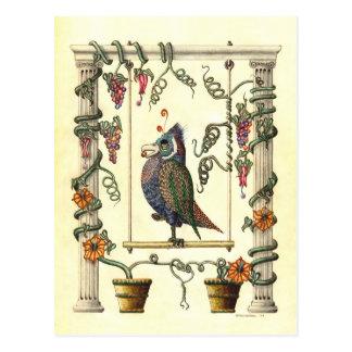 Cartão Postal Pássaro no balanço
