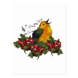 Cartão Postal Pássaro que canta com Hollly, bagas do Natal