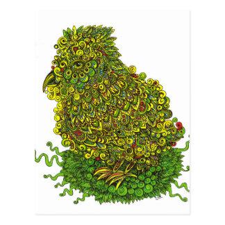 Cartão Postal Pássaro verde em um ninho