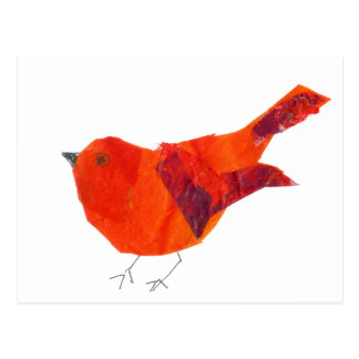 Cartão Postal Pássaro vermelho artístico original animal dos