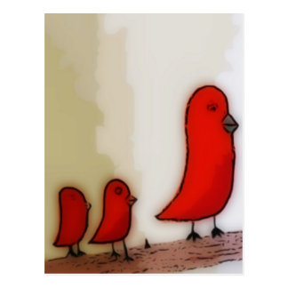 Cartão Postal Pássaro vermelho com arte dos bebês
