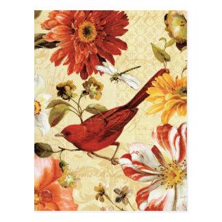 Cartão Postal Pássaro vermelho em um jardim