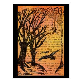 Cartão Postal Pássaros assustadores Spiderweb das árvores do Dia