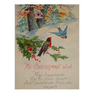Cartão Postal Pássaros azuis do vintage e vermelhos bonitos do