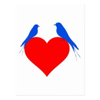 Cartão Postal Pássaros corações birds heart