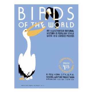 Cartão Postal Pássaros da arte do cobrir de WPA do vintage do