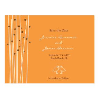 Cartão Postal Pássaros do amor com linhas & pontos alaranjados
