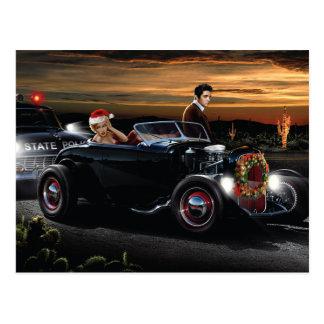 Cartão Postal Passeio da alegria do Natal de Marilyn e de Elvis
