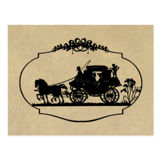 Cartão Postal Passeio da carruagem com roupa e presentes do