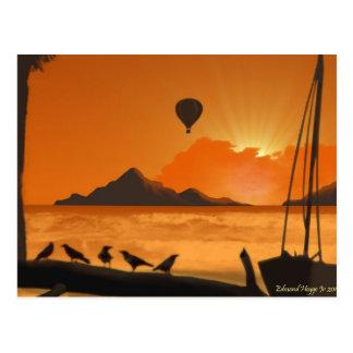 Cartão Postal Passeio do balão no por do sol