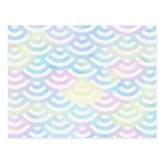 Cartão Postal Pastel da sereia do arco-íris
