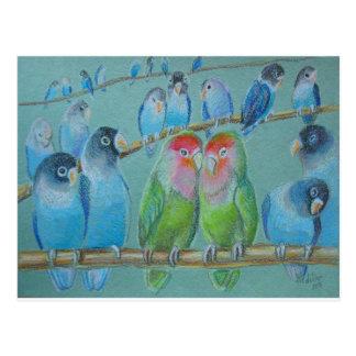 Cartão Postal Pastel do óleo dos Lovebirds