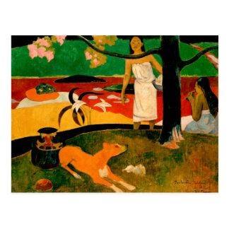 Cartão Postal Pastorales Tahitiennes por Paul Gauguin