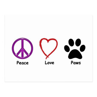 Cartão Postal Patas do amor da paz
