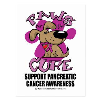 Cartão Postal Patas do câncer de pâncreas para a cura