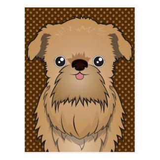 Cartão Postal Patas dos desenhos animados do cão de Bruxelas