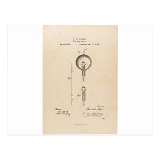 Cartão Postal Patente da ampola de Edson
