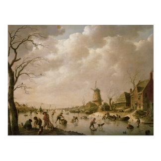 Cartão Postal Patinadores em um canal congelado, 1779