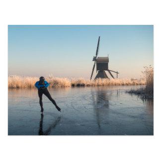 Cartão Postal Patinagem no gelo após o moinho de vento e o