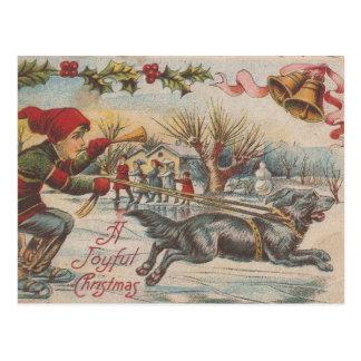 Cartão Postal Patinagem no gelo do natal vintage com o cão