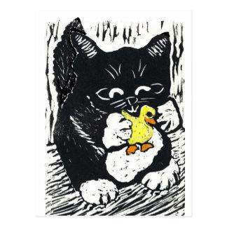 Cartão Postal Pato & gatinho de borracha, impressão de bloco