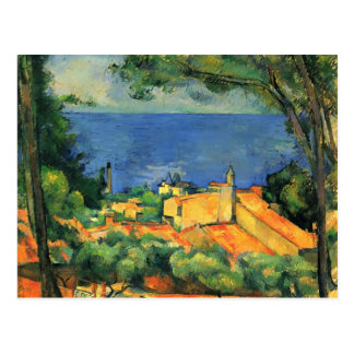 Cartão Postal Paul Cezanne- L'Estaque com telhados vermelhos