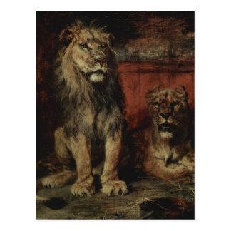 Cartão Postal Paul Friedrich Meyerheim - leões