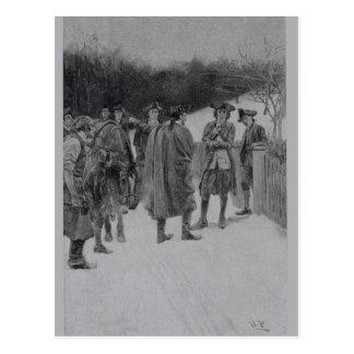Cartão Postal Paul Revere que traz a notícia a Sullivan