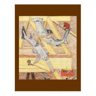 Cartão Postal Pausa para o almoço para os carpinteiros