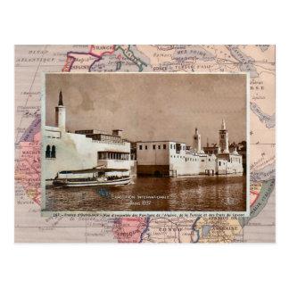 Cartão Postal Pavilhões africanos Paris Exhinition colonial