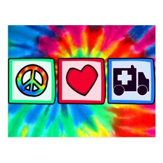 Cartão Postal Paz, amor, ambulância