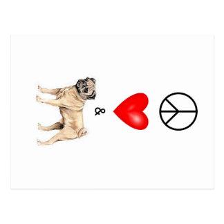Cartão Postal Paz, amor & Pug