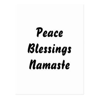 Cartão Postal Paz, bênçãos, Namaste. Branco preto