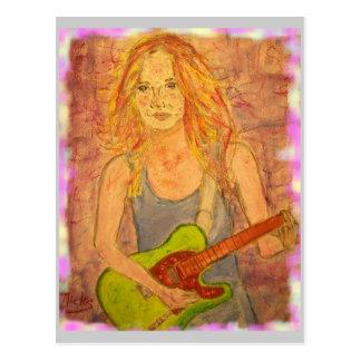 Cartão Postal Paz da menina da guitarra na terra