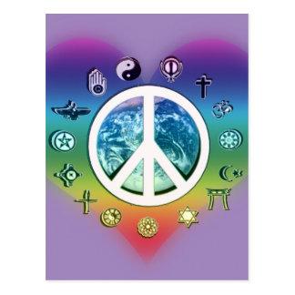 Cartão Postal Paz de mundo com símbolos religiosos