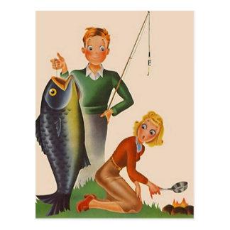 Cartão Postal PC de acampamento das férias da pesca do vintage
