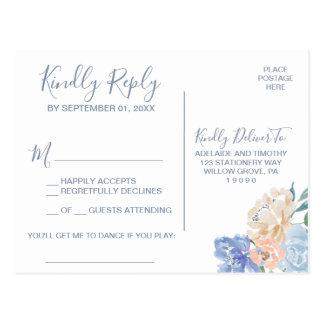 Cartão Postal Pedido floral azul empoeirado RSVP da canção