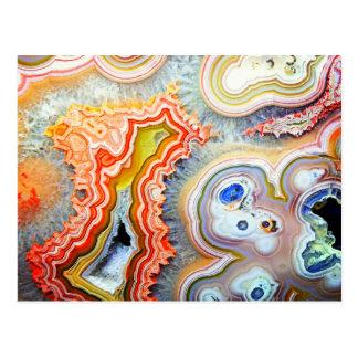 Cartão Postal Pedra preciosa colorida impressionante da ágata